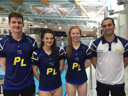 Tom, Jess and Laura with Plymouth Leander's Head Coach Robin Armayan (far right)